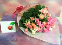 やさしくて甘い♪1本150円!ピンクいっぱいのバラの花束