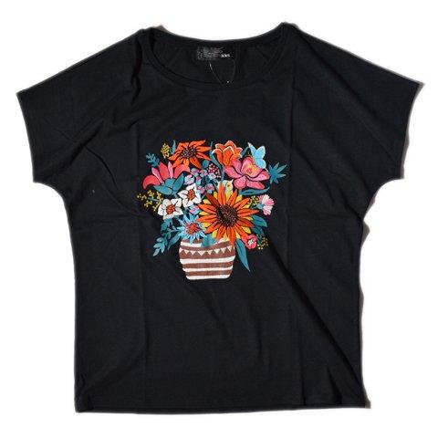 ALDIES/アールディーズ『Vase Embroidery T』ベースエンブロイダリーTBlack【XSサイズ】