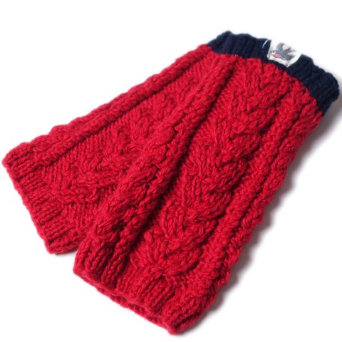 SLOW HANDS/スローハンズ『Heart aran leg warmer』RED