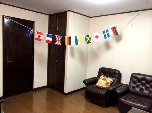 ミニ 10カ国 Bタイプ万国旗・連続旗10枚・3.5m[ミニ判・14×21cm]
