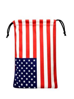 国旗柄 巾着ポーチ(アメリカ合衆国・USA星条旗柄・マイクロファイバー製)
