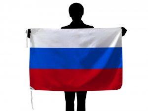 ロシア 国旗(70×105cmポリエステル100%・品番No.1)【メール便対応商品】