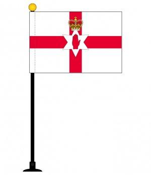 北アイルランド 国旗 1本セット【ミニフラッグ(国旗サイズ105×157mm)・ポール(270mm)・吸盤セット】