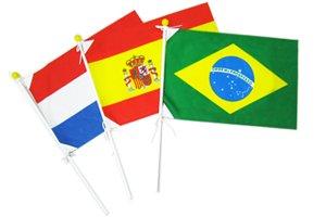 世界の国旗 ポール付き手旗(旗サイズ25×37.5cm)