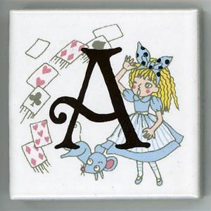アルファベットタイル アリス 45mm角 A  (Alphabet tile Alice 45mm Square A)