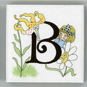 アルファベットタイル アリス 45mm角 B  (Alphabet tile Alice 45mm Square B)