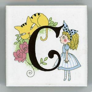アルファベットタイル アリス 45mm角 C  (Alphabet tile Alice 45mm Square C)