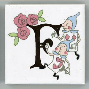 アルファベットタイル アリス 45mm角 F  (Alphabet tile Alice 45mm Square F)