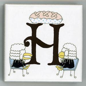 アルファベットタイル アリス 45mm角 H  (Alphabet tile Alice 45mm Square H)