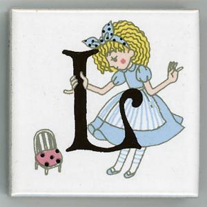 アルファベットタイル アリス 45mm角 L  (Alphabet tile Alice 45mm Square L)