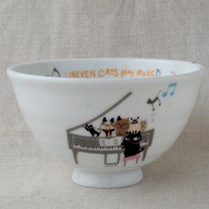 Shinzi Katoh シンジカトウ デザイン 合唱コンクールの練習中の猫たちのイラストがかわいい<br>アニーブンキャッツ シリーズ UN お茶碗 Music 日本製 Lサイズ