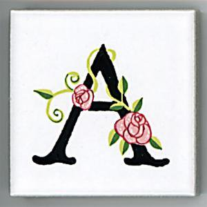 アルファベットタイル[ROSE]45mm角 A  (Alphabet Tile ROSE 45mm Square A)