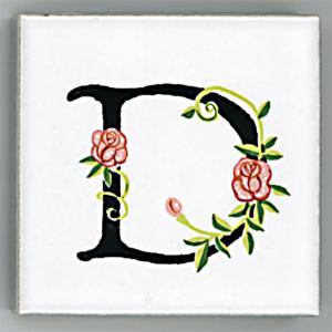 アルファベットタイル[ROSE]45mm角 D  (Alphabet Tile ROSE 45mm Square D)