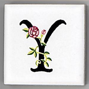 アルファベットタイル[ROSE]45mm角 Y  (Alphabet Tile ROSE 45mm Square Y)