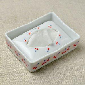 Shinzi katoh シンジカトウ さくらんぼのデザインがシンプルで可愛い <br> Joy Mart ジョイマートシリーズ 陶器のJM ポケットティッシュケース C