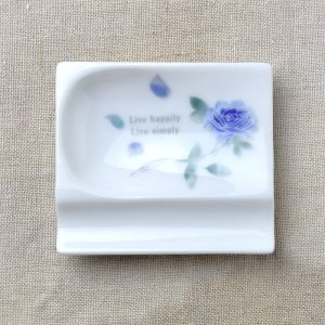 Shinzikatoh シンジカトウ デザイン ブルーローズ 小皿 おもてなしレスト