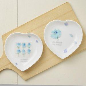 Shinzikatoh シンジカトウ デザイン ブルーローズ  陶器のハートトレー