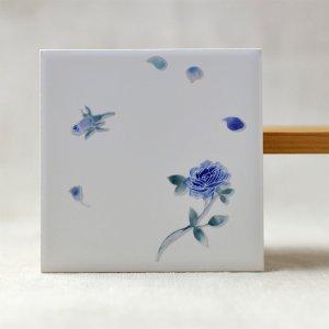 Shinzikatoh シンジカトウ デザイン ブルーローズ デザインタイル4 100角  ¥600+税