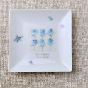 Shinzikatoh シンジカトウ デザイン ブルーローズ スクエアプレート A 陶器の小皿