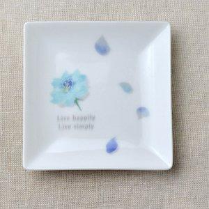 Shinzikatoh シンジカトウ デザイン ブルーローズ スクエアプレートC 陶器の小皿