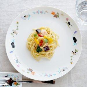 Shinzi katoh シンジカトウ 草花の中で遊ぶ猫ちゃんたちが可愛い 陶器の大皿 プレートUN-FLOWER