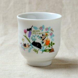 Shinzi katoh シンジカトウ 色彩豊かなハーブ柄 猫のイラスト アニーブンキャッツシリーズ  UN 湯呑 ゆのみ FLOWER