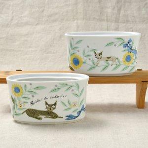 Shinzi katoh シンジカトウ ひまわりとねこのイラストがかわいい <br>リッシュドゥカラリシリーズ 陶器のスタンド 美濃焼