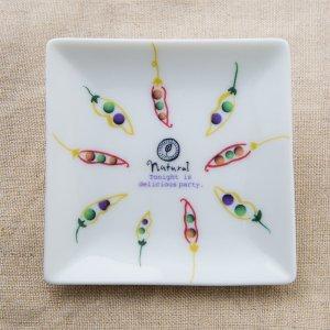 Shinzi katoh シンジカトウ まめの立体感あるデザインがお洒落な陶器の小皿<br> Joy Mart ジョイマートシリーズ スクエアプレート まめA  美濃焼