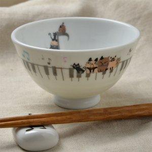 Shinzi Katoh シンジカトウ デザイン 合唱コンクールの練習中の猫たちのイラストがかわいい<br>アニーブンキャッツ シリーズ UN お茶碗 Music 日本製 Sサイズ