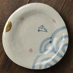 数量限定 Shinzi Katoh シンジカトウ 価値ある手書きの食器のシリーズ<br>手書き 月待ちうさぎ シリーズ 大皿 日本製