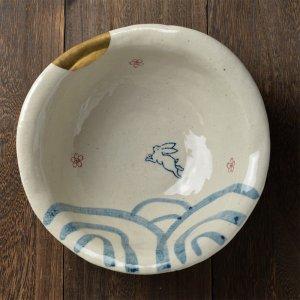 数量限定 Shinzi Katoh シンジカトウ 価値ある手書きの食器のシリーズ<br>手書き 月待ちうさぎ シリーズ 深鉢 日本製