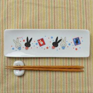Shinzi katoh シンジカトウ Mon pluche モンペルシェ シリーズ <br> ウサギのイラストが可愛い  MPアルファプレート 日本製