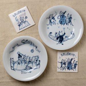 Shinzi katoh シンジカトウ Humoresque ユーモレスクシリーズ <br>どこかひかれてしまう紺色の猫のイラストがお洒落可愛い カレー&スープ 白 各種