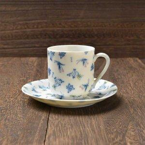 Shinzi katoh シンジカトウ デザイン <br>薄くて軽い藍色の花束のデザインが可愛い<br>レトロ感漂う セボリーブランチ シリーズ  SBデミタスカップソーサー 美濃焼