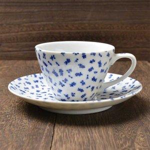 Shinzi katoh シンジカトウ デザイン <br>藍色の小花のデザインが可愛い<br>レトロ感漂う ブルーパレット シリーズ  BPカップソーサー 美濃焼