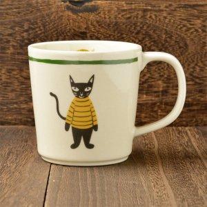 Shinzi katoh シンジカトウ デザイン濃いグレー色した猫のイラストがとっても可愛い<br> ミックスカンパニー MCマグカップ   美濃焼