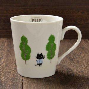 Shinzi katoh シンジカトウ デザイン黒猫のイラストが可愛い<br> プリップシリーズ PLマグカップA   美濃焼