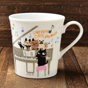 Shinzi Katoh シンジカトウ デザイン 合唱コンクールに向けて練習中の猫たちがかわいい<br>アニーブンキャッツ シリーズ UN マグカップMUSIC  日本製 美濃焼