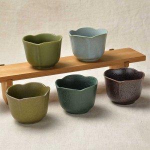 限定セット 松・竹・梅の梅の形をイメージした小鉢 <br>No.247 梅型小鉢 5色セット 美濃焼 100cc