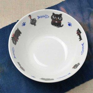 Shinzi Katoh シンジカトウ デザイン うるうるひとみの黒ねこのイラストが可愛い<br>NEKOCO ネココ  シリーズ 陶器のNEマルチボウルB 美濃焼