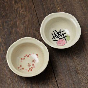 Shinzi Katoh シンジカトウデザイン 色々なシーンで活躍する便利な小鉢<br>彩りの和シリーズ さくら うめのデザインが可愛い<br>花小鉢267 各種1セット6個入 美濃焼  100cc