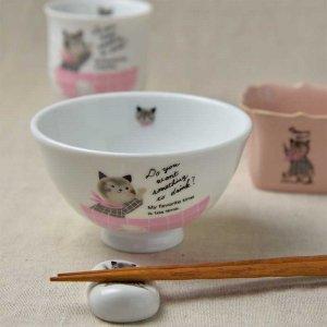 Shinzi Katoh シンジカトウ デザイン<br>女の子っぽい猫のぬいぐるみのようなイラストが可愛い人気のシリーズ<br>ミャウミャウシリーズ MM お茶碗 Pタイプ 日本製 Sサイズ