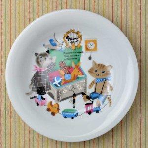 Shinzi katoh シンジカトウ デザイン <br>ねこ雑貨 猫達が描かれたイラストが大人可愛い 陶器の大皿<br>MeowMeow ミャウミャウシリーズ カレー&スープ皿 美濃焼MM-CUR