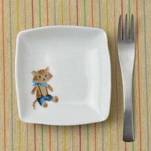 Shinzi Katoh シンジカトウ デザイン<br>猫好きさんには嬉しい 男の子っぽい猫のイラストが可愛い陶器の小皿<br>MeowMeow ミャウミャウシリーズ MMいろとり皿B 美濃焼
