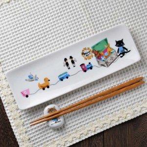 Shinzi Katoh シンジカトウ デザイン 猫達が描かれたイラストが大人可愛い 陶器の長皿<br>MeowMeow ミャウミャウシリーズ MMアルファプレート 美濃焼 日本製