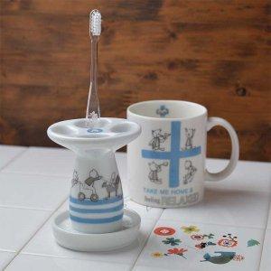 Shinzi katoh シンジカトウ 白い陶器とくまのイラスト、ブルーのラインが清潔感たっぷり! <br>ベアーズカルテットシリーズ BQ 陶器のハブラシスタンド 美濃焼