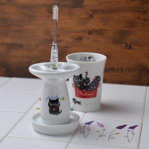Shinzi katoh シンジカトウ 黒猫達のイラストが可愛い <br>NEKOCOシリーズ NE 陶器のハブラシスタンドB 美濃焼