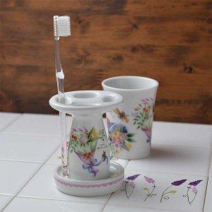 Shinzi katoh シンジカトウ 優しい気持ちになれる花束のデザインが綺麗で可愛い <br>ソフトアフタヌーンシリーズ SA 陶器のハブラシスタンド 美濃焼