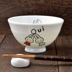 Shinzi Katoh シンジカトウ<br>耳の長いウサギの笑顔に癒される<br>Oui ウィ シリーズ FOU お茶碗 美濃焼  日本製 Sサイズ
