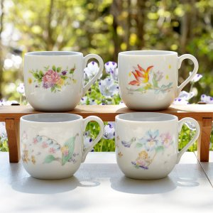 No.5 春の趣を感じさせてくれる 花柄のイラストが可愛い<br>陶器のデザートカップ6個セット 各種 美濃焼  150cc